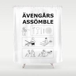 Superheroes Assembling - Black & White Shower Curtain