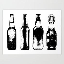Vintage Beer Bottles Art Print