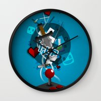 gaming Wall Clocks featuring I ❤ GAMING by Mikhail St-Denis