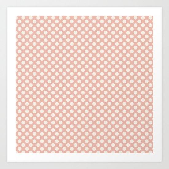 Polka dot dance on pink I -Polkadots pattern Art Print