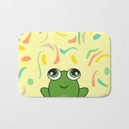 Cute frog looking up Bath Mat