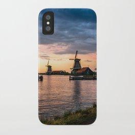 Windmills at sunset iPhone Case