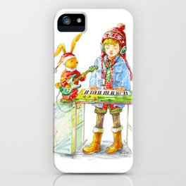 Indie Pop Girl at Christmas Time iPhone Case