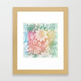 Abstract Pattern:  Watercolor Summery Brights 1 Shabbalicious Floral Orange Framed Art Print