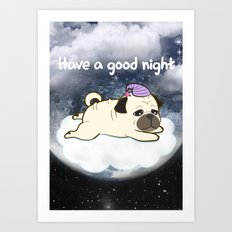 Sleepy Little Pug Art Print