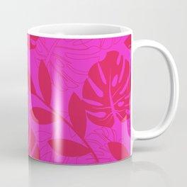 Monstera Leave Red In Red Pattern Coffee Mug