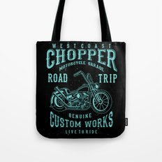 Retro Motorcycle Chopper Typography Tote Bag