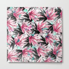 Abstract Pink Teal Leaves and Geometric Triangles Metal Print