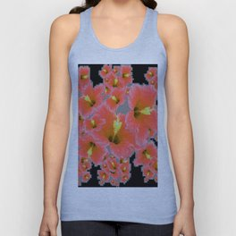 BLACK-GREY CORAL COLOR HIBISCUS ART Unisex Tank Top