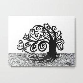 """Tree of Wind"" Original Tree Of Life Art, Windy, Trees Decor, Roots, Nature Wall Artwork Metal Print"