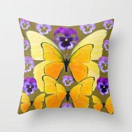 SPRING PURPLE PANSY FLOWERS & YELLOW BUTTERFLIES GARDEN Throw Pillow