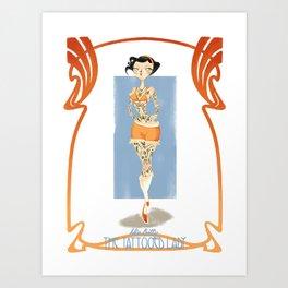 circus series -the tattooed lady- Art Print