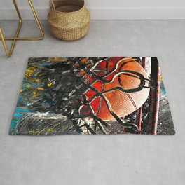 Basketball artwork swoosh 128 - Basketball art Rug