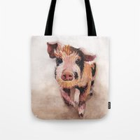 pig Tote Bags featuring Pig by Bridget Davidson