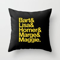 simpsons Throw Pillows featuring Simpsons by Outside In
