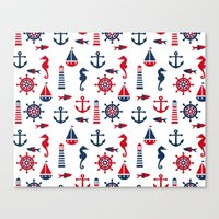navy Canvas Prints featuring Navy by Valmo. Surface pattern design by Valeria