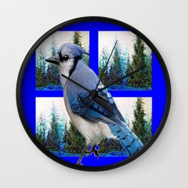 MOUNTAIN BLUE JAY SCENIC ART Wall Clock