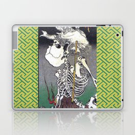 Green Kyosai Skeleton Kitsune Yokai Laptop & iPad Skin