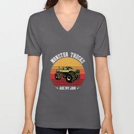 Monster Trucks Are My Jam Gift Idea Design Unisex V-Neck
