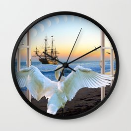 In the sunset beach c Wall Clock