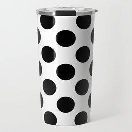 Black Large Polka Dots Pattern Travel Mug