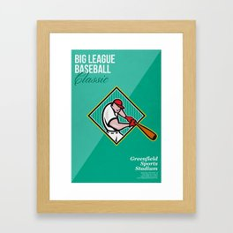 Big League Baseball Classic Retro Poster Framed Art Print