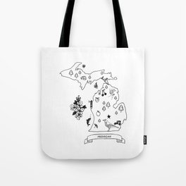 Michigan Map Tote Bag