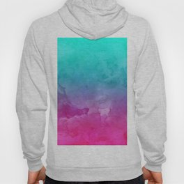 Modern bright summer turquoise pink watercolor ombre hand painted background Hoody