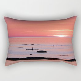 Kayaker and Bird at Last Light Rectangular Pillow