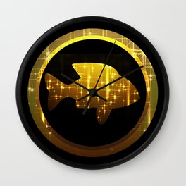 golden fish, make a wish Wall Clock