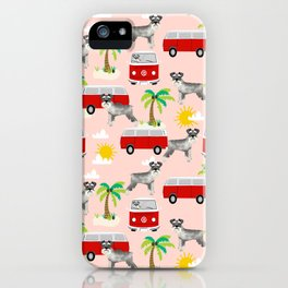 Schnauzer mini van hippie van palm tree tropical summer dog breed pattern iPhone Case