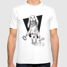 Rabbit MEDIUM White Mens Fitted Tee