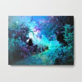 Fantasy Garden Path Turquoise Purple Metal Print