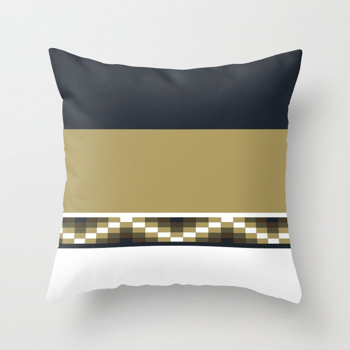 Block Wave Illustration 2 Thick Bold Horizontal Lines Digital Artwork Throw Pillow