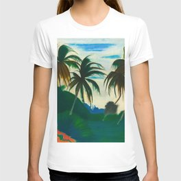 Tropical Scene with Palms and Flowers by Joseph Stella T-shirt