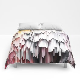 White Black Mauve Cascade Abstract Comforters