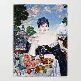 Boris Kustodiev - Merchants Wife At Tea Poster