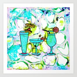 Summer Pool Party Cocktails , Watercolor Painting in Aqua Tequila Sunrise Colors Art Print