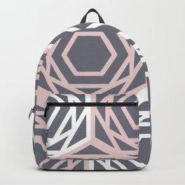 Hex Geo 05 - Geometric Triangle Hexagons Pastel Grey Backpack