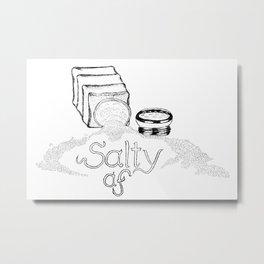 Salty AF - This Salt Shaker is Wide Open - Comic Metal Print