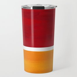 Burnt Red Yellow Ochre Mid Century Modern Abstract Minimalist Rothko Color Field Squares Travel Mug