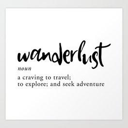 Wanderlust Definition - Minimalist Black Type Art Print