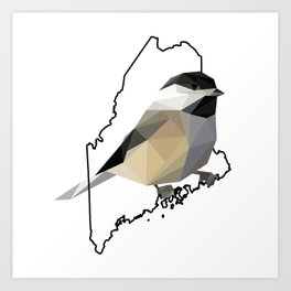 Maine – Black-Capped Chickadee Art Print