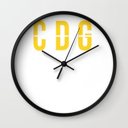 CDG - Charles de Gaulle Airport Paris France Airport Code Souvenir or Gift Design  Wall Clock
