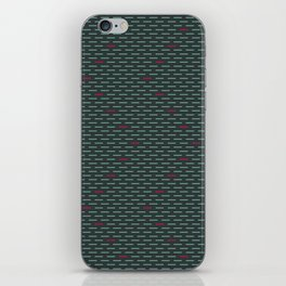 Dark Teal with Hot Pink Dashes iPhone Skin