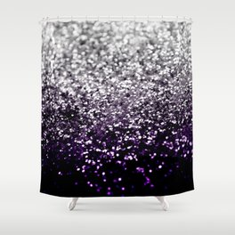 Dark Night Purple Black Silver Glitter #1 #shiny #decor #art #society6 Shower Curtain