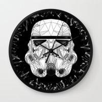 stormtrooper Wall Clocks featuring stormtrooper by Tarik Ali Sert