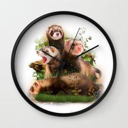 Four Ferrets in Their Wild Habitat Wall Clock