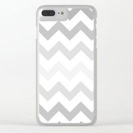 Gradient Grey Chevron on White Clear iPhone Case