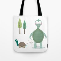 tortoise Tote Bags featuring Tortoise by Esther Ilustra